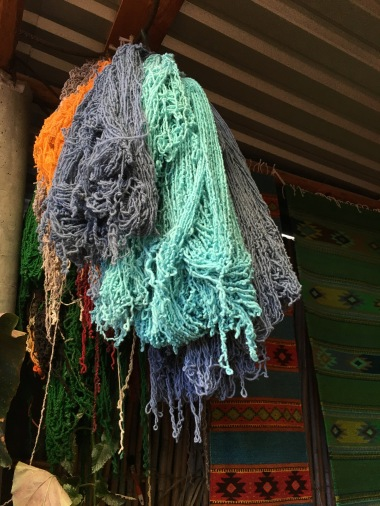 7 - The dyed wool hanging to dry