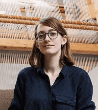 Christabel Balfour in her weaving studio, October 2018